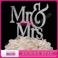 Mr&Mrs clear rhinestone cake topper,free shipping,sparkling gem rhinestone wedding cake toppper