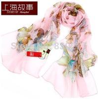 Shanghai Story   female  qingshamanwu100% mulberry silk scarf