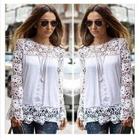 2015 New Women White Crochet Lace Shirt Female Floral blusas Long Sleeve Chiffon Blouse Casual Lace Blusas Plus Size S-5XL