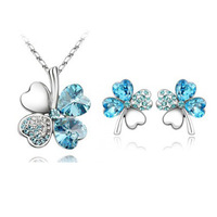 J024 New Arrival Romantic Gold/Silver Plated Crystal Sweet Heart Four Leaf Clover Necklace/Stud Earrings Jewelry Sets For Women