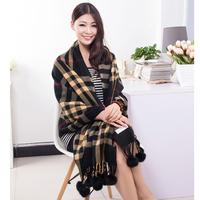 Women New Fashion Wool Plaid Decorative Rabbit Fur Balls Autumn Winter Shawl Scarves Scarf Wraps Hijab Bufandas 1SC895
