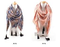 Autumn season east new scarf Ms Korea velvet tassel floral scarf wholesale