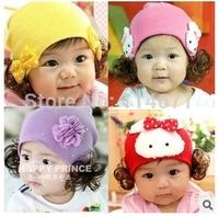 Free Shipping (5pcs/Lot) 2014 Bonnet Newborn Photography Props Accessories/ Winter Baby Hat Newborn Boy Knitted Princess Wig Cap