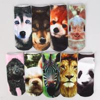 Free New fashion 3D Printed Unisex Cute Low Cut Ankle Socks Multiple Colors Harajuku Style  Animal sets 2 socks dogs/fox/lion