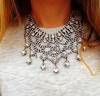 Vintage silver chains necklace fashion crystal jewelry statement hotsale choker bib metal za brand women's necklace 2014 8752