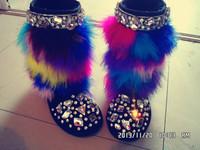 2015 New Winter Snow Boots Block Decoration Rhinestone Genuine Leather Knee High Boots Handmade Fur Boots