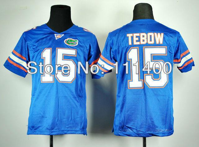 Free Shipping Kids NCAA football Florida Gators Tim Tebow 15 Royal Blue College Football Jersey Embroidery logos(China (Mainland))