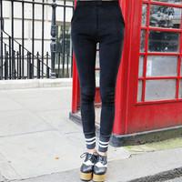 2014 stylenanda New autumn/winter Thread splicing skinny pencil pants high waist skinny trousers female 110402