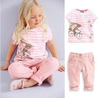 2014 New Summer girls clothing set Short Sleeve Pink stripe Butterfly cute kangaroo print shirt+Jeans pants Casual girls clothes