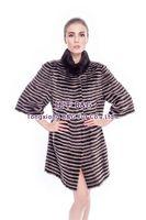 BG80143 Fashion In Russian Real Mink Fur Coat Stripes For Women Winter Long Warm Fur Coat Plus Size OEM