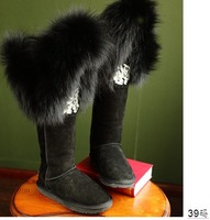 2015 Luxury High Quality Fox Fur Over the Knee Thigh High Boots Rhinestone Female Snow Boots Winter Warm Shoes Flat Shoes