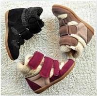 New 2014 Winter Women's Hidden Heel Platform Boots Shoes  Elevator High-top Sneaker Theatening Shoes