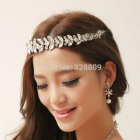 Hot sale Princess crystal frontlet chain tiaras rhinestone wedding bridal tiara wholesale wedding crown frontlet  jewelry