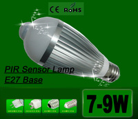 1pcs free shipping 7W 9W PIR intelligent Motion induction lamp LED E27 infrared sensor light bulb Corridor lights lamp