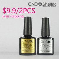 2Pcs/lot 100% Brand New High Quality CND Shellac Soak Off UV Nail Gel Polish 1PC Base Gel and 1PC Top Coat Free Shipping