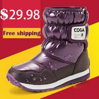 2014 NEW winter children shoes flat snow boots waterproof nonslip kids fashion boot cheap child shoe size 26-37 baby girls boy 4