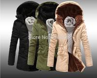 Men Winter Slim Fleece Casual Hooded Brand Design Snow Warm Cotton Windproof Thickening Fit Male Outdoors Outwear Jackets Coat