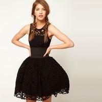 High Quality 2014 Vintage Womens Sleeveless Ball Gown Dress Vestido De Fiesta Black Lace Princess Sundress Prom Dresses