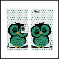 4.7 inch for iPhone 6 New Product Cute Owl Wallet Stand Leather Case Cover with Card & Slots + free shipping