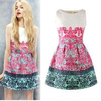 New Fashion 2014 Womens Flower Print Sleeveless Retro Sexy Chiffon Dress Vestidos High Street Novelty Party Dresses