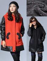 fashion women plus size loose thick elegant outwear Polyester sherpa camo Fleece patchwork warm winter coat with hood 3XL jacket