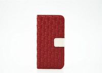 50pcs/lot Free Shipping Good Quality Braided lines holster wallet case flip stand cover for Apple iphone6 plus 5.5''inch