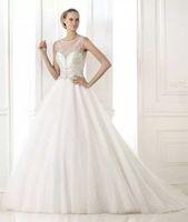 Ivory/White Cap Sleeves Chiffon Long Wedding Dresses Bridal Gowns Vestidos de Novia Custom Made 2014