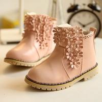 2014 girls winter boots waterproof non-slip Martin  Foot length 15.7 ~ 18.2cm