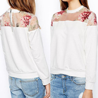 Feitong 2014 Excellent 1PC Womens Splicing Loose Sweater Hoodie Tops Sweatshirt Blouse Floral New