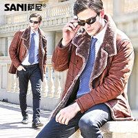 Akrasanee fashion calf skin leather clothing male fur one piece leather clothing male genuine leather fur coat leather clothing