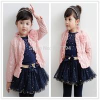 Free shipping new autumn conjuntos,newborn baby girl Clothing Set,cute flower tshirt+shirt+coat  de bebe 3pcs kids clothes sets
