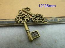 Bulk 90 Small Antique Brass Double sided skeleton Key Charm Steampunk Supplies Wedding Key 12*28mm - Free Shipping(China (Mainland))