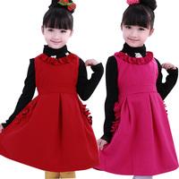 Girls' s 2014 of children's clothing autumn day Outfit Dress woolen cashmere Korean princess  short sleeved vest dress