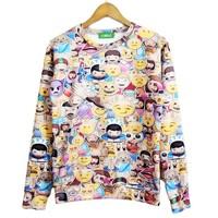 2014 New high quality fashion Women/Men Mobile phone Emoji Print 3D Sweatshirts Hoodies Galaxy sweaters Tops Free shipping
