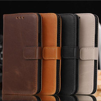 Luxury crazy horse pattern leather flip cover wallet case for samsung galaxy s5 mini in stock