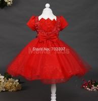 2014 New WholesaleKids girl Wedding Dress Children Girl beading Lotus flower party dress free shipping  6pcs/lot TY-N10