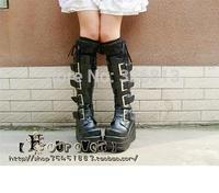 Free shipping Fourever-sd lolita 11cm platform shoes black buckle boots
