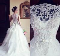 Vestido De Noiva Ball Gown Vintage Wedding Dress/Lace Crew Neck Illusion Sleeveless Button Zipper Beaded Lace Beach Bridal Gowns