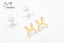 Wholesale 2014 Fashion Women Animal Earring 18K Gold Cute Rabbit Ear Stud Earrings For Birthday Gift  Free shipping