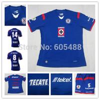 Top A+++ Thailand quality CRUZ AZUL 2014/15 home blue soccer jersey GIMENEZ PAVONE ROJAS Football jerseys