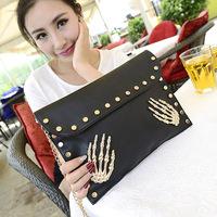 2014 women's fashion handbag skull rivet clutch women's day clutch envelope bag cross-body small bags