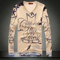 2014 new design men fashion novelty thick velvet long sleeve tshirt mens T-shirts t shirt man hot sale