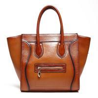 2015 top fashion  Sale Handbags Soft Rushed Bolsa Feminina Handmade 100% Genuine Leather Large Smiley Leisure Cowhide Tote Bags