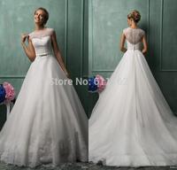Amelia Sposa Vestidos De Noiva A Line Jewel Chapel Train White Organza Lace Wedding Dresses Illusion Back Wedding Gowns Bridal