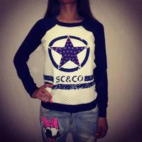 New 2014 Hot Collections Women fashion Star Printed Sweatshirts Pullover Casual Long Sleeve Hoody Sweatshirt Women