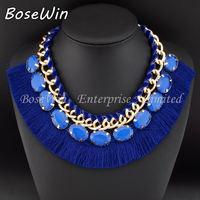 2014 Fashion Accessories Dense Yarn Bib Ribbon Knit Chunky Gold Chain Resin Gems Chokers Women Statement Necklaces CE2616