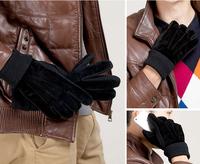 Fashion mens winter warm motorcycle gloves black brown rowan pigskin leather gloves for men