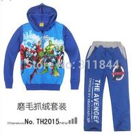Retail-2014 hot baby kids boys Major League Avengers Hulk Fleece Hooded suit, hooded+pants 2 pieces set,children Cartoon clothes