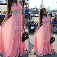 ED271 Fashion A-line Halter Ruffles Sleeveless Beading Floor Length Chiffon Evening Dresses