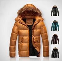 Hot ! Men's winter jacket thick warm cotton coat Slim stylish hooded casual jacket fur collar coat . Free Shipping